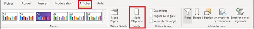 Affichage du mode téléphone sur Power BI
