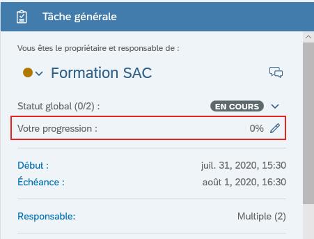 Avancement d'une tache dans le GANTT SAP Analytics Cloud