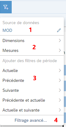 Choix filtres SAP Analytics Cloud