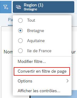 Conversion filtre de page
