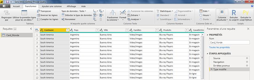 Préparation des données Power BI Desktop