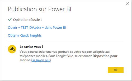 Approbation de la publication Power BI