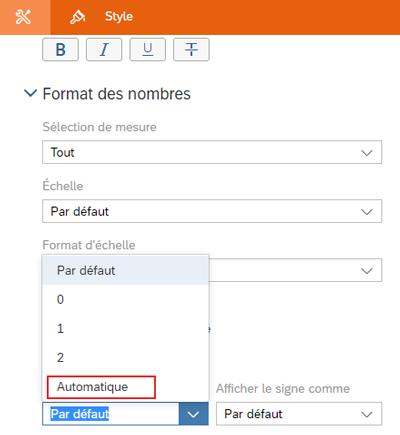 Format automatique décimale