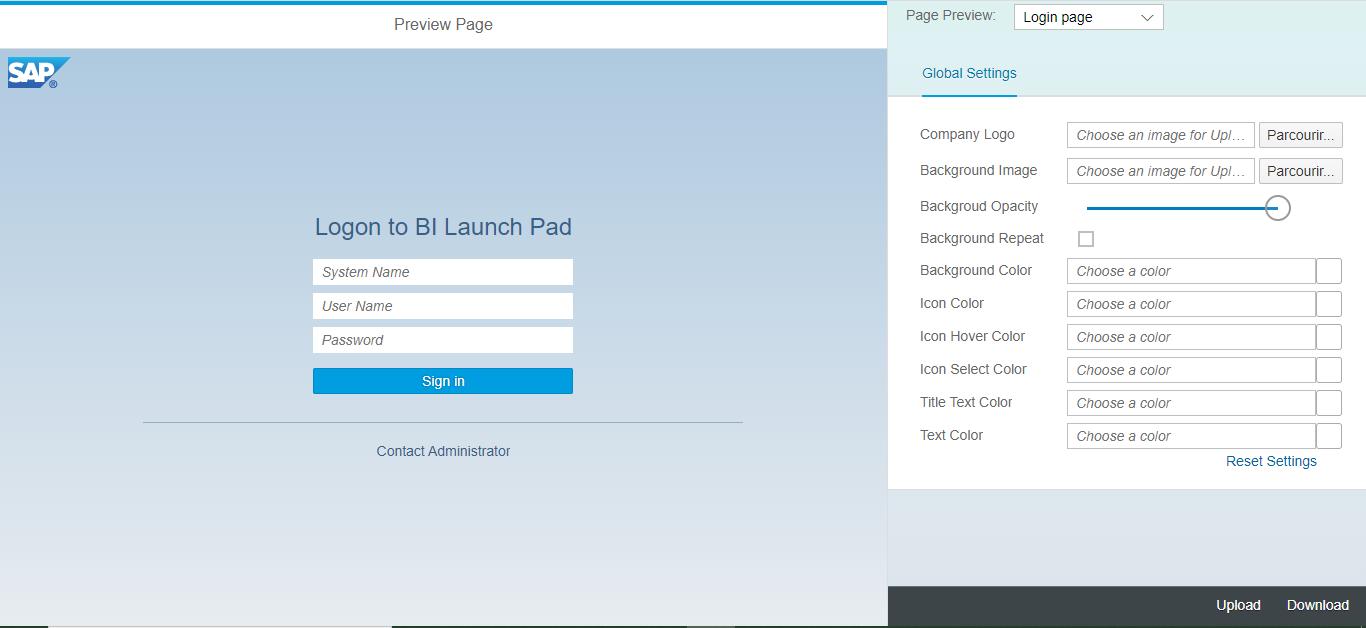 Interface SAP Theme Designer