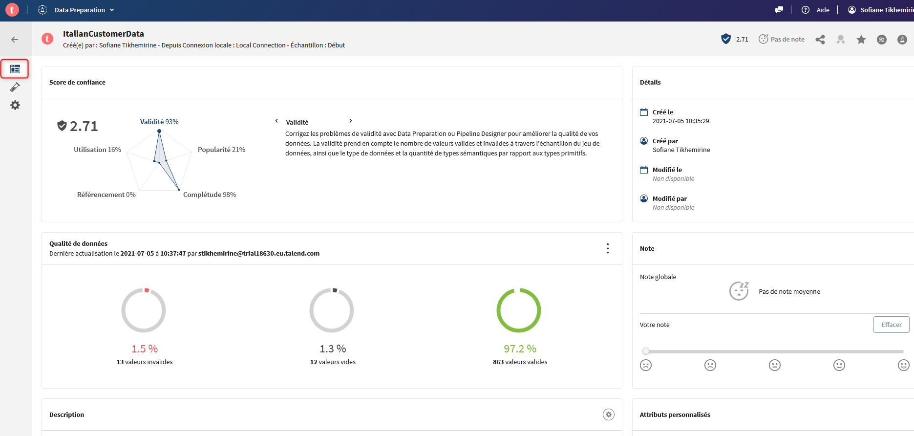 Trust Score Talend Data Preparation